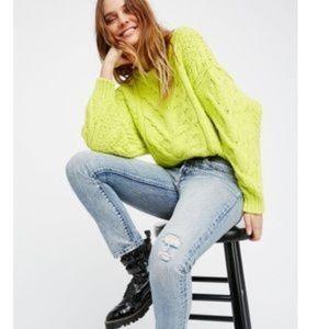 Free People Bonfire Sweater Lime peel